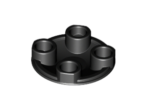 70707004 – Black plate round 2×2 rounded bottom