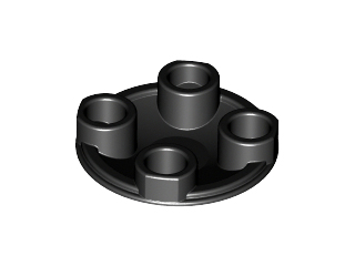70707004 - Black plate round 2x2 rounded bottom
