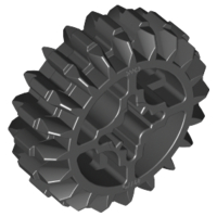 70707013 – Black technic gear 20 tooth double bevel