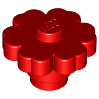 70707076 - Red plant flower 2x2 rounded solid stud