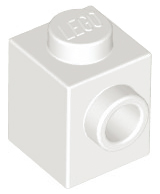 70707090 - White brick modified 1x1 with stud on 1 side