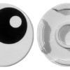 70707100 - White tile round 2x2 with bottom stud holder with black eye with pupil pattern